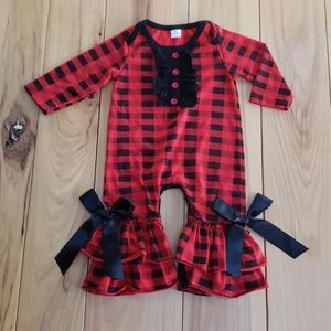 INFANT BUFFALO PLAID LONG-SLEEVE ROMPER WITH BOWS